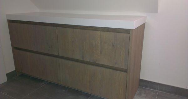 Rustiek eiken houten dressoir met wit composiet dekblad te rijssen badmeubels made by tegel - Kamer wit houten bad ...