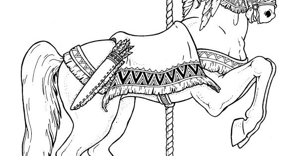 Advanced Coloring Pages Of Horses : Carousel animals coloring book dover books
