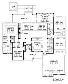 Home Plan The Hardesty By Donald A Gardner Architects Floor Plans Country Style House Plans Four Bedroom House Plans
