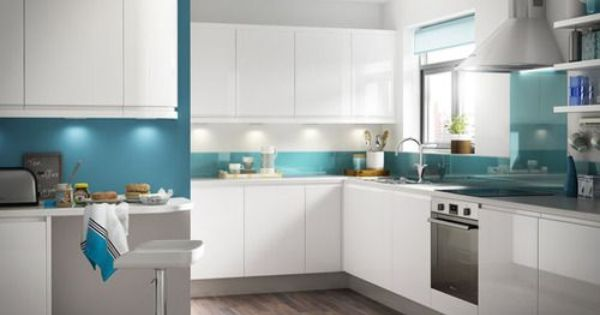 Image Result For White Gloss Kitchen Units Blue Duck Egg Walls