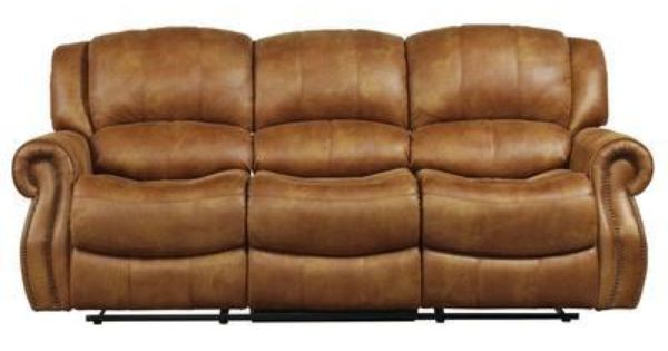 this plush saddle colored faux leather sofa reclining 100 polyester