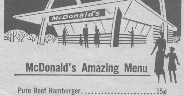 The Original McDonalds Menu! Don't remember this but do know that if