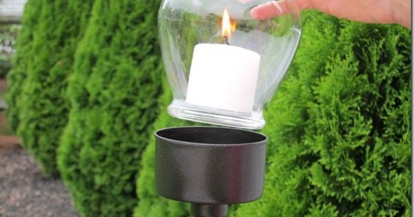 Tuna fish can, paint stick & candle = outdoor candle lantern. Add