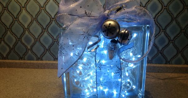 String Lights For Glass Blocks : Christmas night light or decoration using a glass block, string of white lights, wired ribbon ...