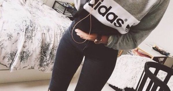 jeans, tumblr, weheartit, adidas, cute, top, t-shirt ...