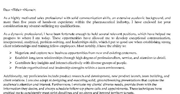 Resume Example, Pharmaceutical Sales Cover Letter Examples