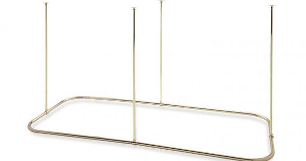 Rectangular Ceiling Mount Shower Curtain Rod Bathroom 48 X 30 Polished Brass