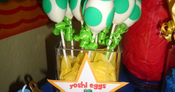 Yoshi egg cake balls. Super Mario party