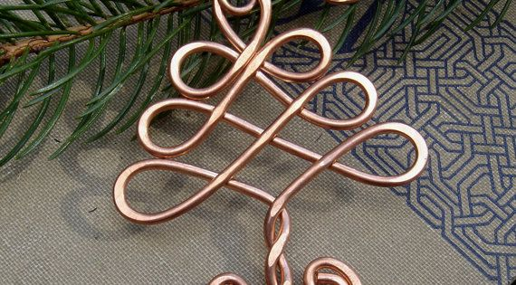 Celtic Tree Ornament - Christmas Tree Holiday Ornament - Copper Wire -