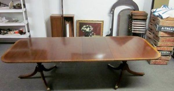 Vintage Hickory Chair Co Mahogany Duncan Phyfe Dining Table
