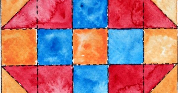 Quilt Patterns Using 5x5 Squares : 3 COLORS - 5X5 SQUARES - Watercolor quilt block Upcycled Fabrics Pinterest Watercolor ...