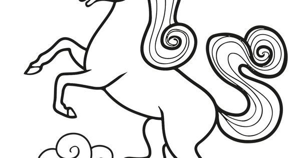 a colorier dessin d�une belle licorne debout avec des