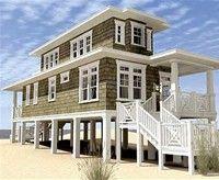 Beautiful Narrow Lot Beach House Plans 6 Narrow Lot Beach House Plans On Pilings Beachfront House Coastal House Plans Beach Style House Plans