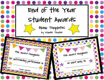 End of the Year Student Award Templates | Award template ...