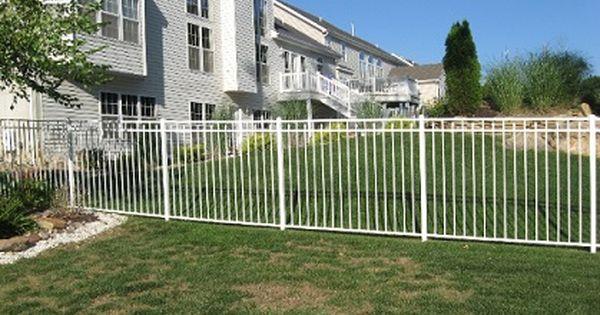 White Metal Fence Aluminum Fence Backyard Fences Brick Fence