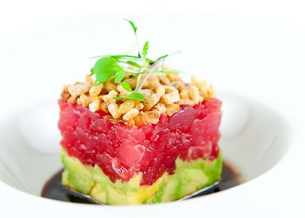 Ahi Tuna Tartare with Avocado, Crispy Shallots & Soy-Sesame Dressing - Food
