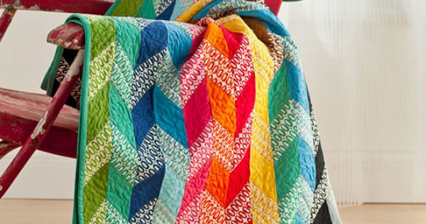 Bright! Rainbow chevron patchwork quilt.