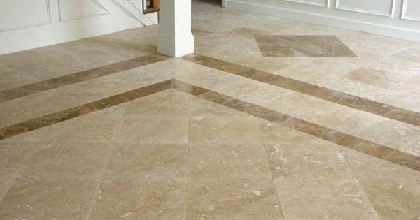 Travertine Foyer Design : Tiles with darker travertine border and diamond accents