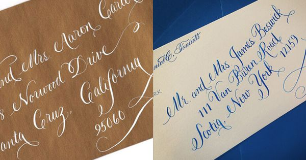Whimsical White Ink And Navy Ink Calligraphy At An