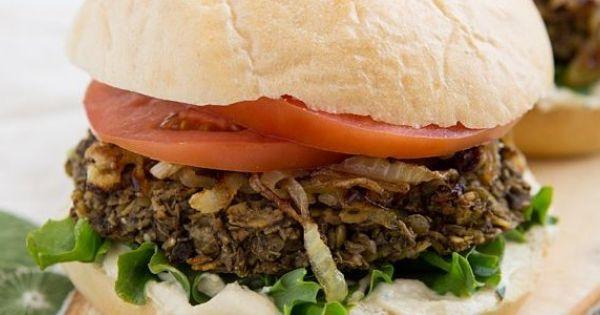 Lentil Mushroom Burgers- use gf oats and serve over mixed greens/kale ...
