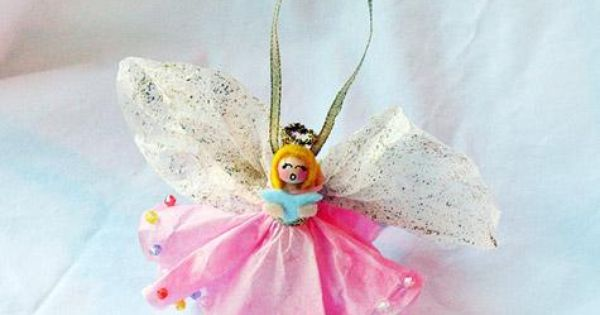 Clothespin Angel Ornament This pretty little angel will sing her way into