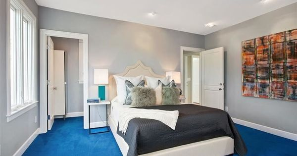 Bedroom With Gray Whiles And Bright Blue Carpet Home Decor. Decorating With Blue Carpet   Interior Design