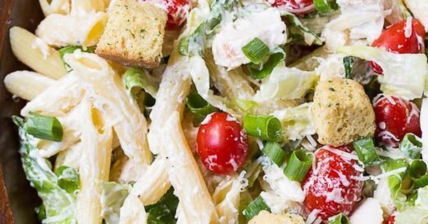Chicken Caesar Pasta Salad Recipe with an easy and creamy homemade Caesar dressing. Great as a side dish or light summer meal.