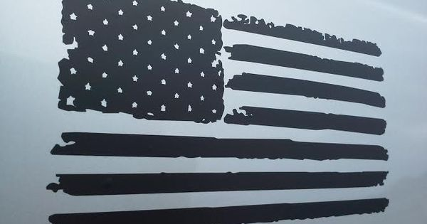 Matte Black Distressed American Flag Vinyl Decal Matte