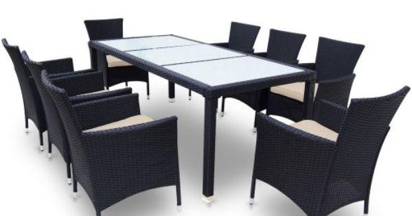 polyrattan sitzgarnitur 17 teilig schwarz grau - poly rattan, Terrassen ideen