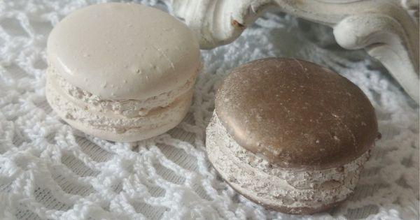 2 macarons en pl tre blanc et cuivr d coration de table for Decoration par platre
