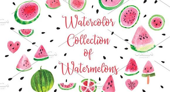 Watercolor Collection of Watermelons by Rasveta on @creativemarket