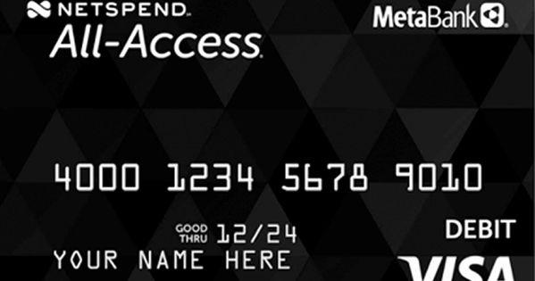 Netspend All Access Prepaid Visa Debit Card From Metabank Prepaid Credit Card Prepaid Debit Cards Visa Debit Card