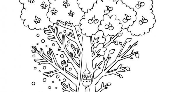 Dibujos Infantiles Árbol En Otoño Para Colorear: Dibujo De Un árbol En Otoño Para Colorear