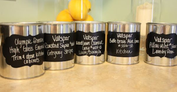 Make Labels With A Silhouette For Paint Cans I Like The Idea Of Buying Empty Paint Cans And Using Them With Images Paint Cans Office Supply Crafts Leftover Paint Storage