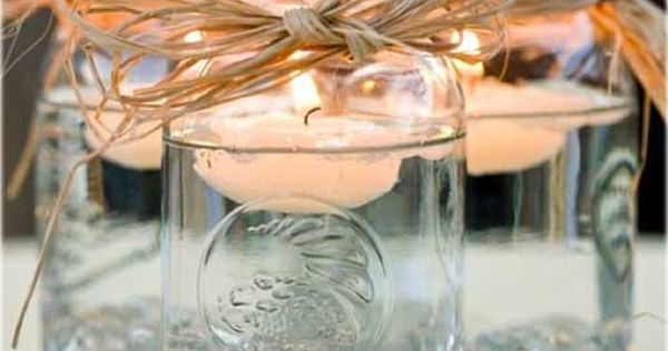 Mason Jar Centerpieces, Love this. floating candles masonjar country wedding weddingdecor coral