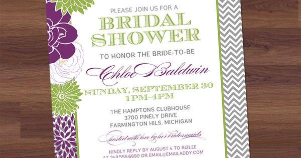 Bridal Shower Invitation - Modern Chevron Floral - Vintage Typography - Purple,