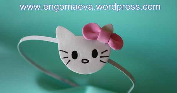 Headbands Hello Kitty made with craft foam (foamy). A cute and sweet