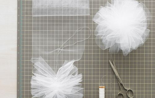 tulle and net pom poms