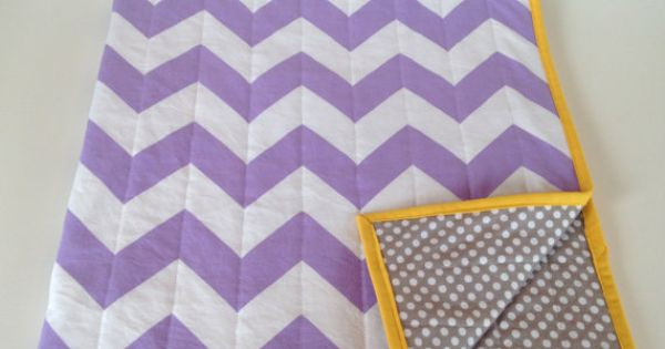 Lavender gray modern baby quilt - chevron purple yellow grey - girl