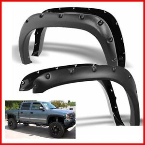 For 99 06 Chevy Silverado Sierra Pocket Rivet Style Fender Flares Paintable Ebay Chevy Silverado Fender Flares Dodge Ram