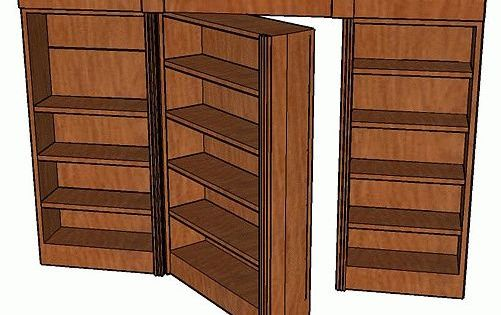 how to build a hidden pivot bookcase door includes easy. Black Bedroom Furniture Sets. Home Design Ideas