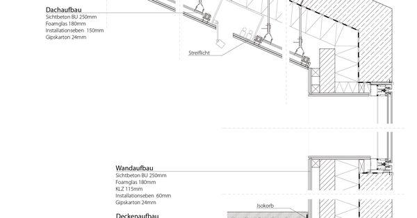 Wandaufbau holzrahmenbau mit klinker  architekturmuseum   Fassadenschnitt, Architektur und Detailzeichnungen