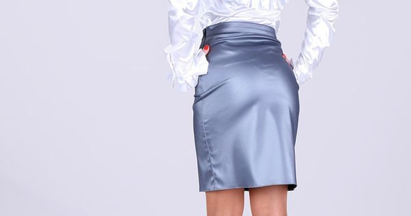 power blue satin pencil skirt white satin blouse