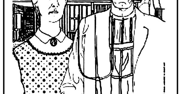 Awesome coloring page american gothic coloring pages for American gothic coloring page