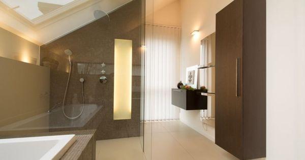Badezimmer Dachräge Beige Bodenfliesen Glas Walk In Dusche | Badezimmer |  Pinterest | Modern