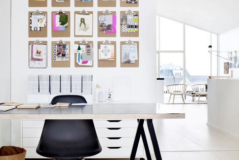 Clean and simple work space. Great idea to hang things with the