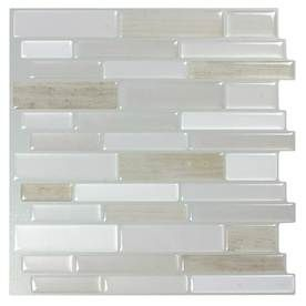 Peel Stick Mosaics Peel And Stick Light Silk 10 In X 10 In Composite Linear Mosaic Wall Tile Common Stick On Tiles Peel And Stick Tile Stick Tile Backsplash
