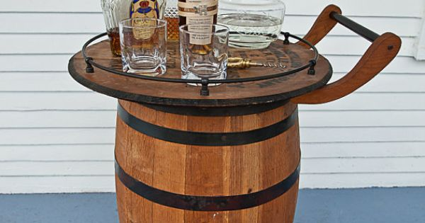 Bar Cart Made From A Vintage Bourbon Whiskey Barrel