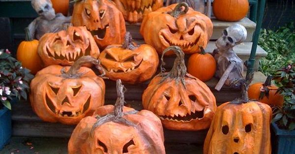 Halloween~ paper mache pumpkins! I like the idea of putting a little