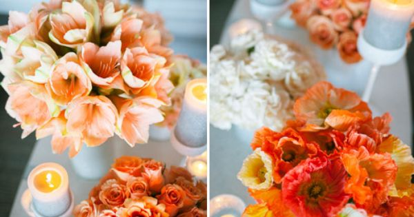 coral and orange chevron wedding decor and color ideas, photos by Tyler
